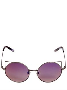LINDA FARROW - METAL CAT EYE ROUND SUNGLASSES - LUISAVIAROMA - LUXURY SHOPPING WORLDWIDE SHIPPING - FLORENCE