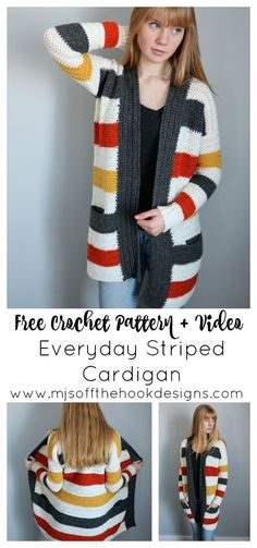 Everyday Striped Cardigan - MJ's off the Hook Designs - - free crochet pattern and video tutorial. everyday Striped cardigan with pockets. Easy construction worked in herringbone double crochet stitches. Crochet Bolero, Crochet Stitches, Crochet Patterns, Crochet Jacket Pattern, Crochet Designs, Crochet Cardigan Pattern Free Women, Cross Stitches, Double Crochet, Easy Crochet