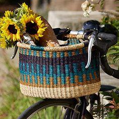 Porch & Decor - Bolgatanga Bike Basket Cool Stripe