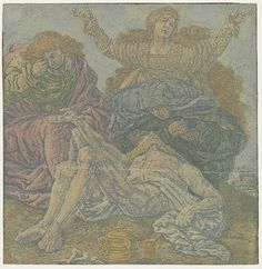Hercules Segers (Dutch, ca. 1590–ca. 1638), The Lamentation of Christ, ca. 1630-33. Line etching printed with tone and blue highlights on a cream tinted ground, colored with brush, 6 7/16 × 6 1/4 in. (16.3 × 15.9 cm). Rijksmuseum, Amsterdam; transferred from the Koninklijke Bibliotheek, collection Pieter Cornelis Baron van Leyden (1717-1788), 1816 (inv. no. RP-P-OB-797)