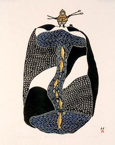 Arrival of the Fisherman -- colour stonecut 57 x 46 cm by Pitseolak Ashoona