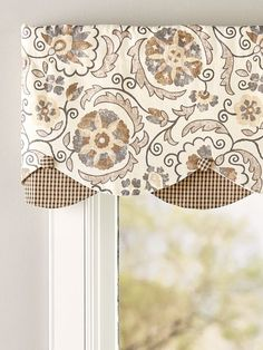 The Floral Linen Rod Pocket Layered Window Valance features a stylish combination of medallions and botanicals with a checked fabric accent. Valance Window Treatments, Kitchen Window Treatments, Custom Window Treatments, Window Coverings, Kitchen Window Valances, Kitchen Curtains, Blinds Design, Window Design, Valences For Windows