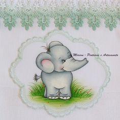 "Fralda Passeio - 70 x 70 cm - Fralda Cremer Pinte & Borde / Pintura à mão. Elefantinho "" Safari"""