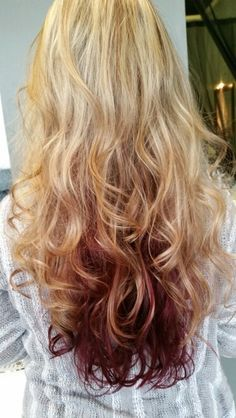 Highlights lowlights. Blonde foils with dark red violet shadow underneath the bottom. Long layers. Pinterest summer hair. Spring fever. New fresh red hair color with blonde