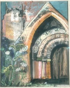 The colors are all mellow and they match. This creates unity. The church's arc creates depth in the composition. Building Painting, Building Art, John Piper Artist, Fall Art Projects, A Level Art, Elements Of Art, Urban Art, Illustration Art, Images