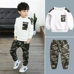 Clothing set for children from 2 to 13 years old sets for be - Conjunto de ro Outfits Niños, Baby Boy Outfits, Sport Outfits, Kids Outfits, Cute Kids Fashion, Baby Boy Fashion, Kids Army, Baby Pants, Kids Sports