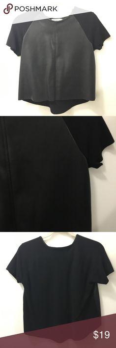 ZARA FAUX LEATHER TOP Zara faux leather patchwork top Zara Tops