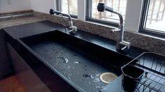évier de cuisine en stéatite noire de design moderne