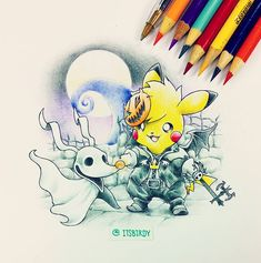 HAPPY HALLOWEEN! Enjoy have fun eat lots of candies =). Probs going to stream me playing something scary later tonight we'll see.. Open to suggestions.. Name everything in this cross over go! #Pokemon #Crayola #Illustration by itsbirdy