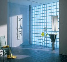 love the glass brick wall