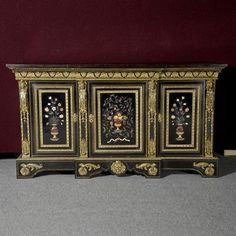 1118: Napoleon III Pietra Dura Mounted Ebonized Cabinet : Lot 1118