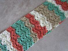 Crochet Infinity Chevron Scarf in Cream Tan Coral by kashmirkitten, $40.00