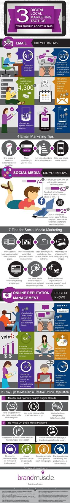 Digital tactics help local marketing but are difficult for SMBs to master. This infographic has tips and stats for email, social media and online branding. Inbound Marketing, Marketing Online, Marketing Tactics, Digital Marketing Strategy, Business Marketing, Content Marketing, Social Media Marketing, Online Business, Affiliate Marketing