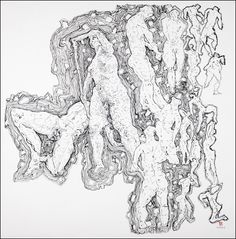 Ban Wei, Visual Observing, 2011  Ink on Xuan Paper, 27 x 27.5 inches