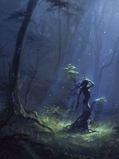 Dryad by Ulyanna Regener Fantasy Inspiration, Story Inspiration, Monster, Fantasy Forest, Fantasy World, Fantasy Art, Dark Forest, Tree People, Magical Creatures