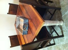 Custom Farm Table made from 150 year old heart pine with chairs imported to the Green Door Company: 662-380-5074