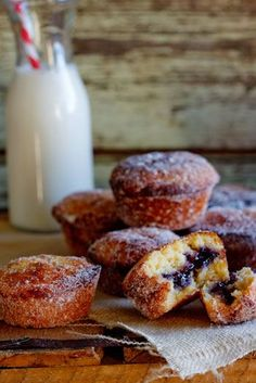Jam Doughnut Muffins These are a little bit naughty, but absolutely delicious and so easy that the kids can make them! This is my adaption...