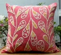 Hand Embroidered Pillow. Exclusive design by DubrasenHome on Etsy