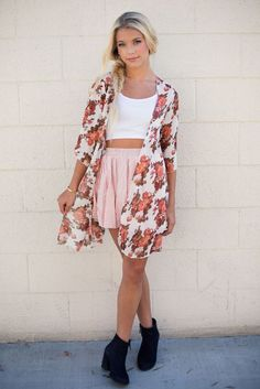 @roressclothes closet ideas #women fashion outfit #clothing style apparel White Crop Top and Pink Skirt