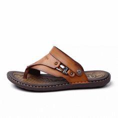 fef2c165775c Men Clip Toe Slippers Comfortable Flat Slip On Casual Beach Sandals  Comfortable Flats