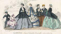 1860s fashion plate  April fashions, 1866 France, Cendrillon