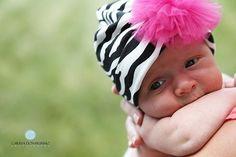 Zebra Animal Print Baby Beanie Cap AND Tulle Puff Clip $10.50 #etsy #zebra #baby #girl