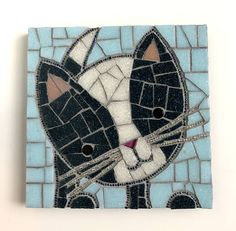 Cat Artwork Kitten Mosaic 6x6 mosaic cat with bead whiskers