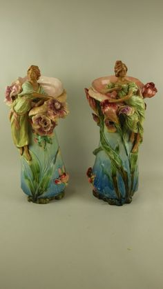 Majolica pair of Art Nouveau vases with ladies and : Lot 3090