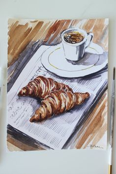 Oil Painting Frames, Food Painting, Coffee Painting, Night Sky Painting, Galaxy Painting, Coffee Illustration, Watercolor Illustration, Watercolor Food, Watercolor Paintings