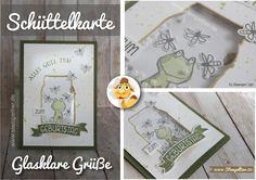 schüttelkarte vom Stempeltier mit glasklare Grüße und Love you lots Frosch von Stampin Up everyday Jars framelits frog