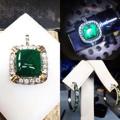 Monturas con esmeraldas y brillantes