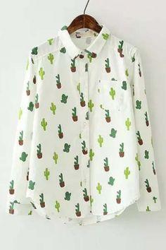 New Arrival Cute Cactus Print Long Sleeve Lapel Shirt