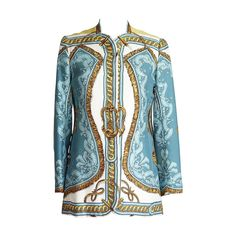 HERMES SPORT jacket rare BRIDE DE COUR silk scarf print vintage 42 6 to 8 | From a collection of rare vintage jackets at https://www.1stdibs.com/fashion/clothing/jackets/
