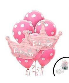 Girls Princess Crown Jumbo Balloon Bouquet - Multi-colored
