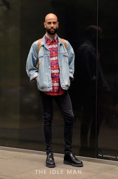 Men's street style | Dreamy Denim - The classic denim jacket is a style saviour. Wear it with a loud shirt and black skinny jeans for a seriously slick look. | Shop the look at The Idle Man