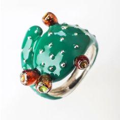 Pear Ring, Boho Fashion, Womens Fashion, Art Nouveau, Cactus Print, Catania Sicily, Jewelry Design, Silver Rings, Boho Style