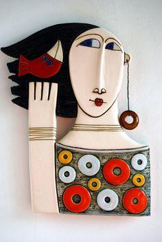 Woman with red bird- Original ceramic art tile Wall art,Sculpture