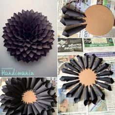 How to Make a Paper Wreath - Paper Dahlia Wreath Tutorial - Cute Crafts, Crafts To Do, Arts And Crafts, Diy Crafts, Creative Crafts, Geek Crafts, Decor Crafts, Diy Paper, Paper Crafting