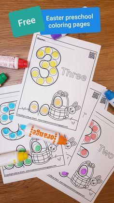 Easter Activities For Preschool, Preschool Coloring Pages, Numbers Preschool, Free Preschool, Preschool Printables, Spring Activities, Color Activities, Kindergarten Activities, Preschool Activities