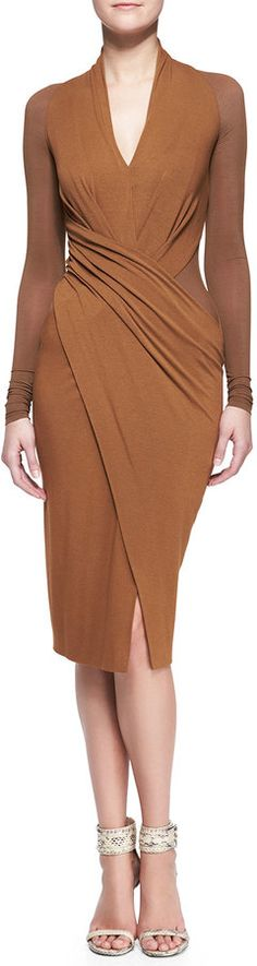 Shop for Cool Jersey Draped Long-Sleeve Dress by Donna Karan at ShopStyle. Now for Sold Out.
