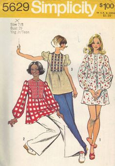 Simplicity 70s Sewing Pattern Uncut FF Mini Dress Tunic Blouse Long Loose Sleeves Bib Front Retro Cute Bust 29. $7.50, via Etsy.