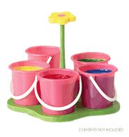 """Ms Crafty Floral Caddy - Ages 3 and up. Includes plastic cups and wooden stand. 8"""" W x 7"""" H. Imported."""