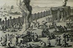 The Phillip Medhurst Picture Torah 521. Burnt offering. Leviticus cap 8 vv 14-16. Mortier