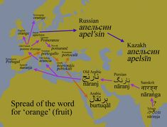 Spread of the word for 'orange' (the fruit)