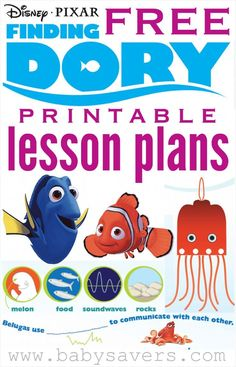 Finding Dory lesson plans - free Disney printables for teachers and parents!