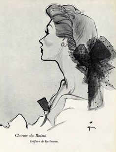 Guillaume coiffure illustrated by René Gruau, 1952