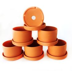 Set of 6 Natural Terra Cotta Round Fat Walled Garden Planters with Individual Trays. Indoor or Outdoor Use