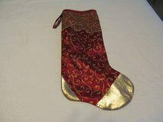 Heirloom quality  Christmas Stocking, hand finished,  top is bias bound, decorated with gold lame heal and toe,gold netting cuff,satin lined by KaTerryTheSewSisters on Etsy