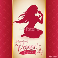 Pretty Woman Silhouette Smelling a Rose in Women's Day