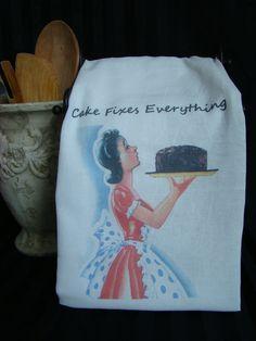 Kitschy Retro - Cake fixes everything - Custom Printed - Flour Sack Tea Towel - Super Cute